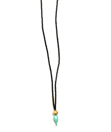 Black Seed Bead Gold Vermeil Turquoise Necklace