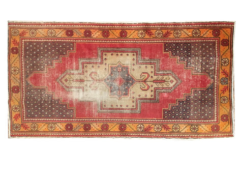 "Handmade Vintage Turkish Rug 3'3""x5'9"""