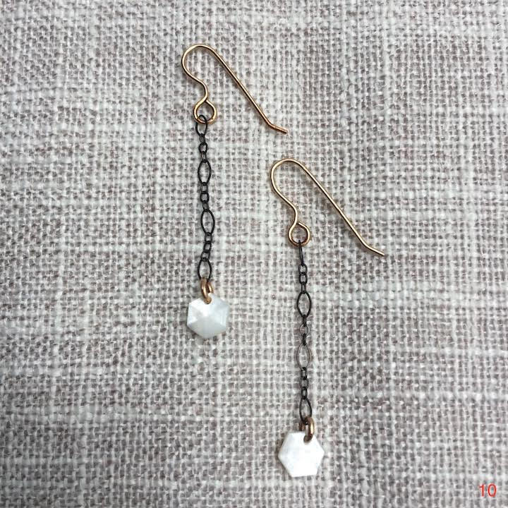 Oxidized Silver Chain With Mini Hexagon Button Drops Earrings