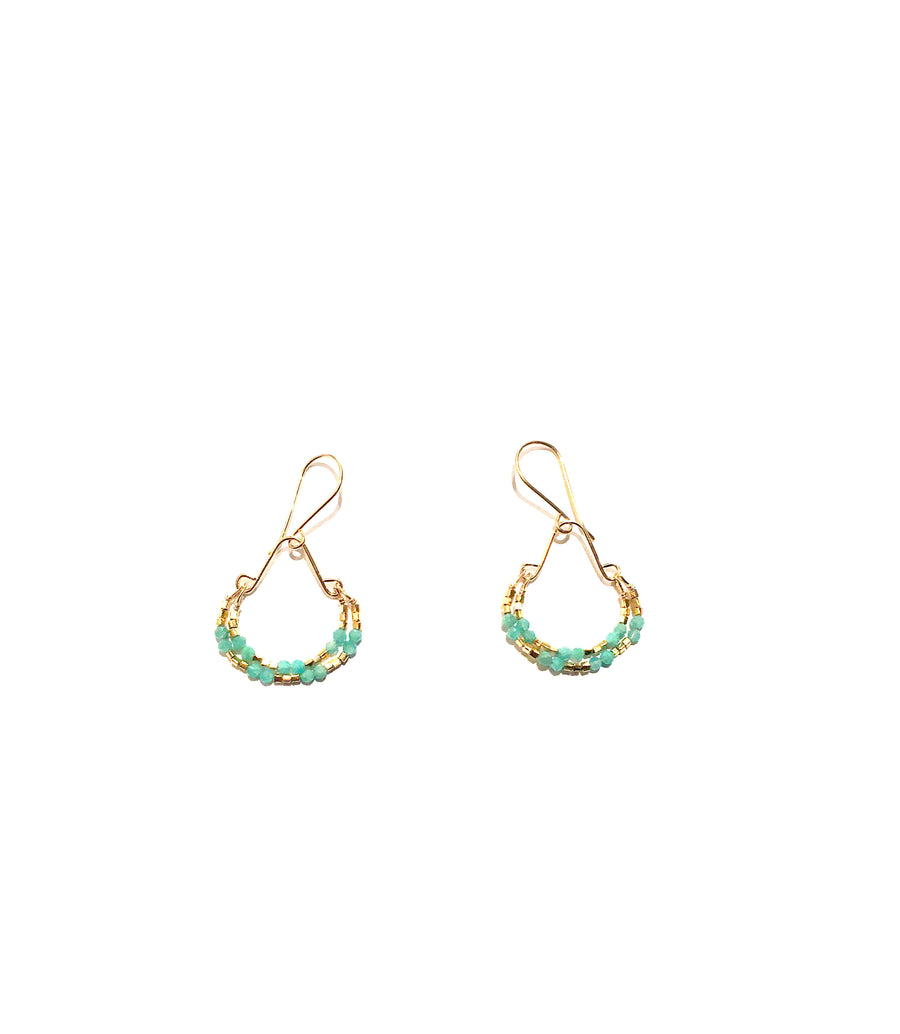Amazonite & Gold Vermeil Gold Filled Double Hoop Earrings