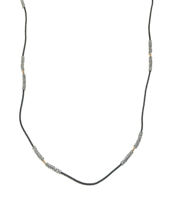 Gray Quartz Black Seed & Gold Vermeil Necklace