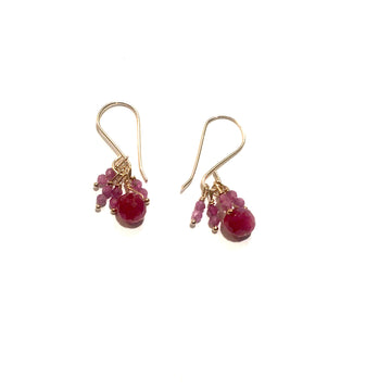 Ruby Beads Gold Fill Earrings