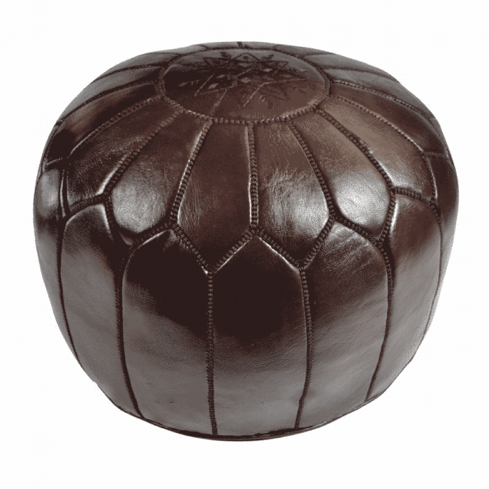 Chocolate Brown Leather Pouf