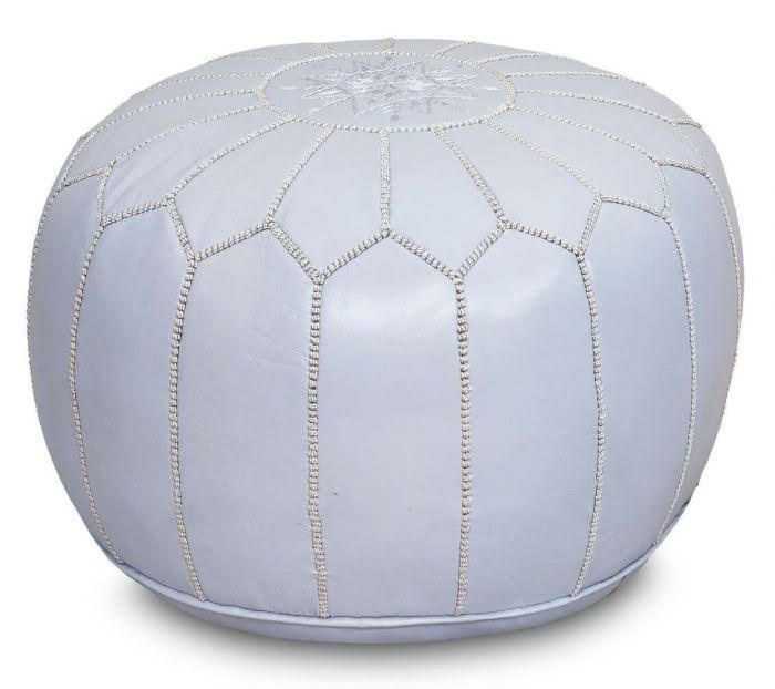 Grey Leather Pouf