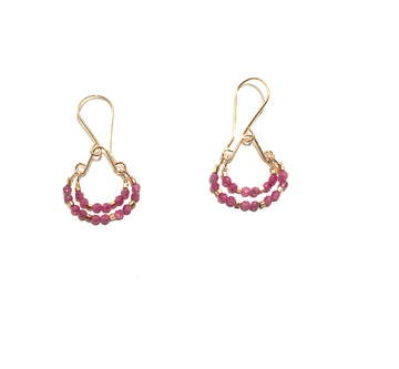 Double Hoop Ruby Gold Vermeil Bead Earrings