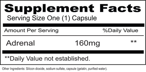 Adrenal 160 mg  (Priority One Vitamins) Supplement Facts