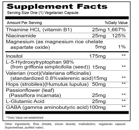 Adrenal Support  (Priority One Vitamins) Supplement Facts