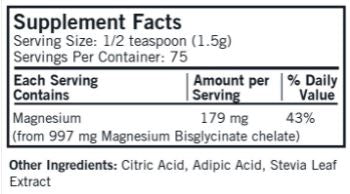 Buffered Magnesium Bisglycinate (Kirkman Labs) Supplement Facts