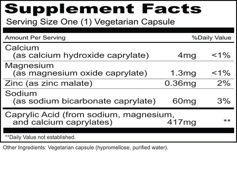 Caprylic Priority (Priority One Vitamins) Supplement Facts