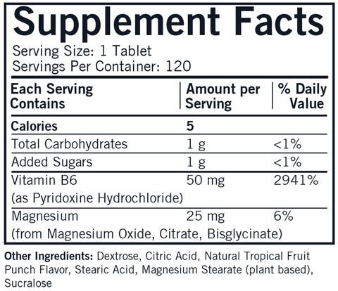 Chewable B6 with Magnesium (Kirkman Labs) Supplement Facts