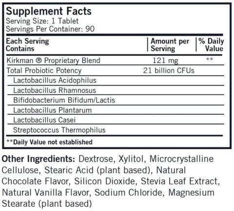Children's Chewable Pro-Bio Gold Chocolate Wafers (Kirkman Labs) Supplement Facts