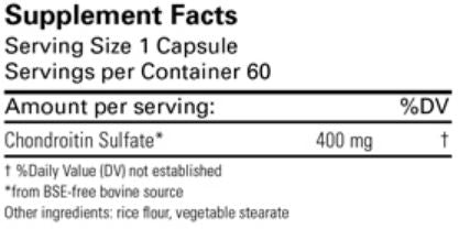 Chondroitin Sulfate 400 mg  (Karuna Responsible Nutrition) Supplement Facts