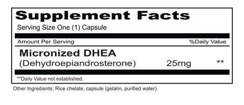 DHEA 25mg (Priority One Vitamins) Supplement Facts