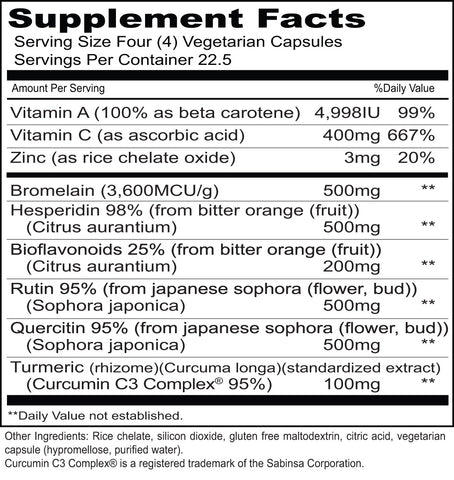 Enflam (Priority One Vitamins) Supplement Facts