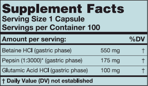 HCl-Pepsin (Karuna Responsible Nutrition) Supplement Facts