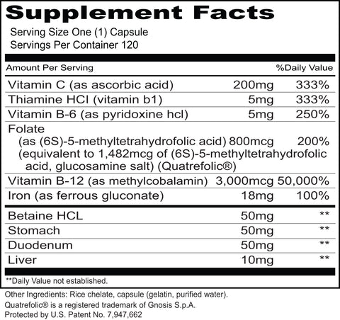 Hemo-X (Priority One Vitamins) Supplement Facts