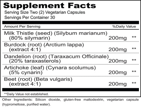 Hepa Cleanse (Priority One Vitamins) Supplement Facts