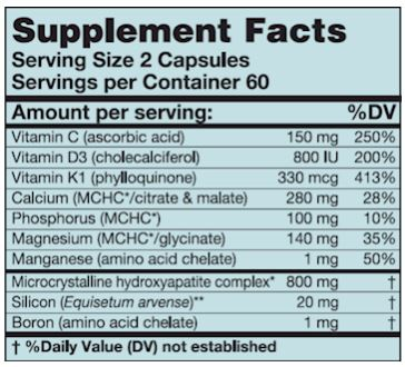 HydroxyCal (Karuna Responsible Nutrition) Supplement Facts
