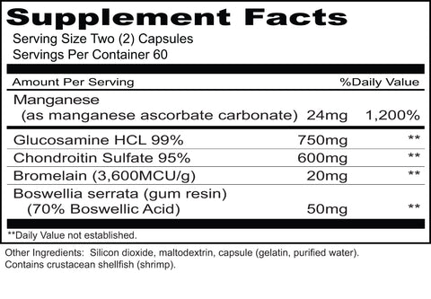 Joint Flex (Priority One Vitamins) Supplement Facts
