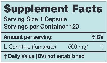 L-Carnitine 500 mg (Karuna Responsible Nutrition) Supplement Facts