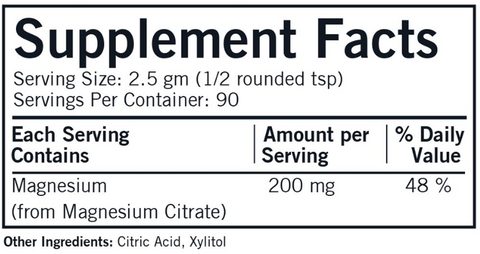 Magnesium Citrate Soluble Powder (Kirkman Labs) Supplement Facts