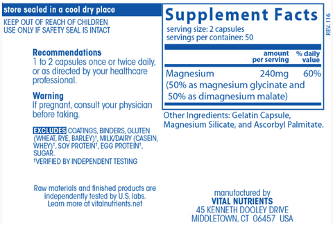 Magnesium Glycinate 120mg (Vital Nutrients)