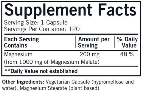 Magnesium Malate 1000 mg (Kirkman Labs) Supplement Facts