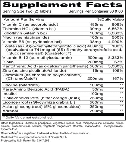 Mega Stress (Priority One Vitamins) Supplement Facts