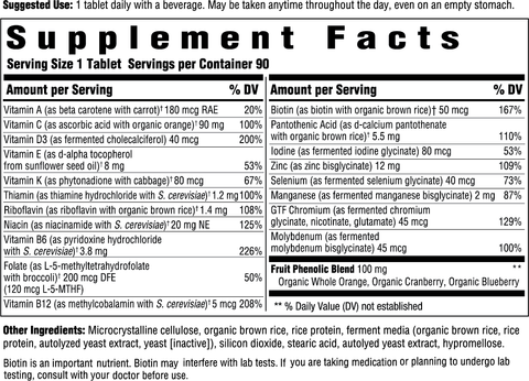 Men's 50+ One Daily (Innate Response) Supplement Facts