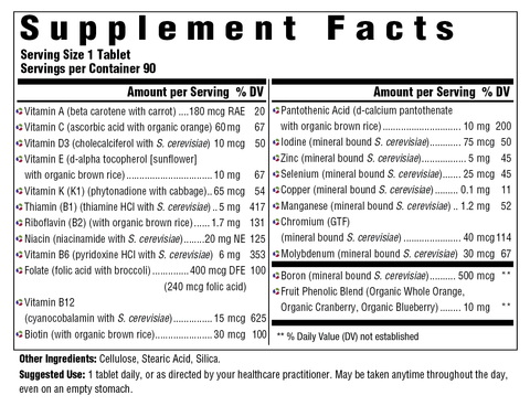 One Daily without Iron (Innate Response) Supplement Facts