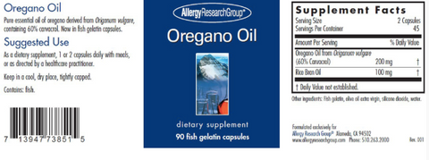 Oregano Oil 100mg (Allergy Research Group)