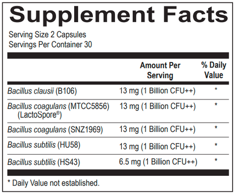 Ortho Spore Complete (Ortho Molecular) Supplement Fact