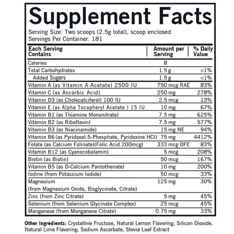 Super Nu-Thera® with 25 mg P-5-P Powder (Kirkman Labs) Supplement Facts