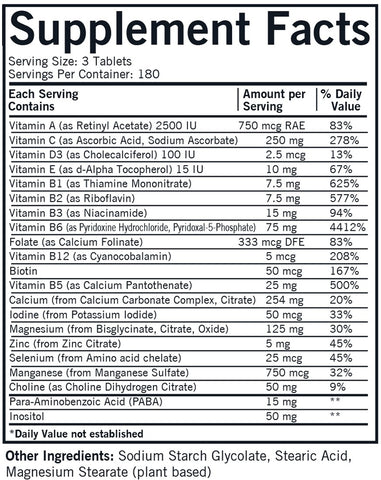 Super Nu-Thera with P5P and Extra Calcium (Kirkman Labs) Supplement Facts