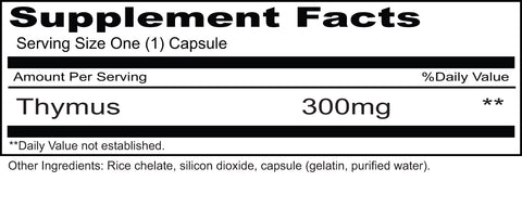 Thymus 300 mg  (Priority One Vitamins) Supplement Facts