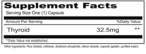 Thyroid 32.5mg (Priority One Vitamins) Supplement Facts