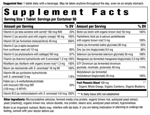 Women's 50+ One Daily (Innate Response) Supplement Facts