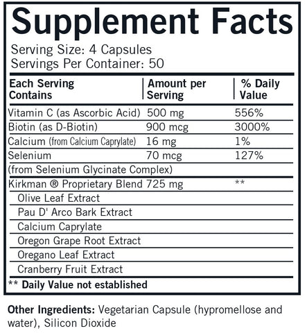 Yeast-Aid™ Advanced Formula (Kirkman Labs) Supplement Facts