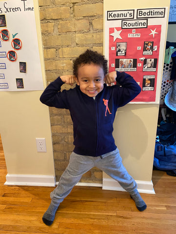 Kid flexing with his hoodie on.