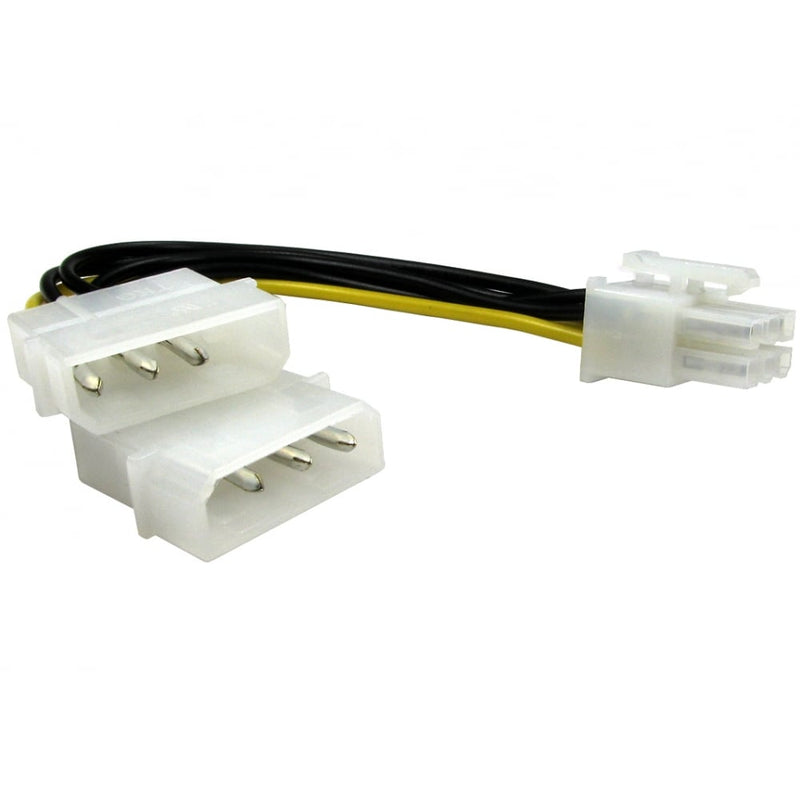 Twin 4 Pin Molex Male to 6 Pin PCI-e Power Cable (Molex Connector) - 0.2M - Peach Stores