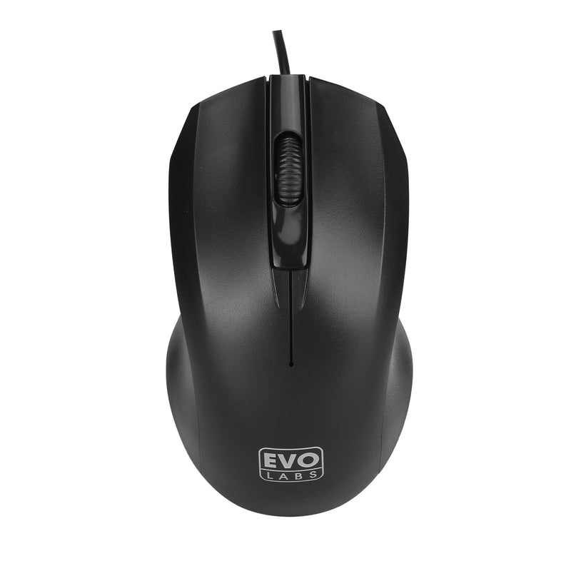 Evo Labs MO-128 Wired USB Matte Black Mouse Top - Peach Stores