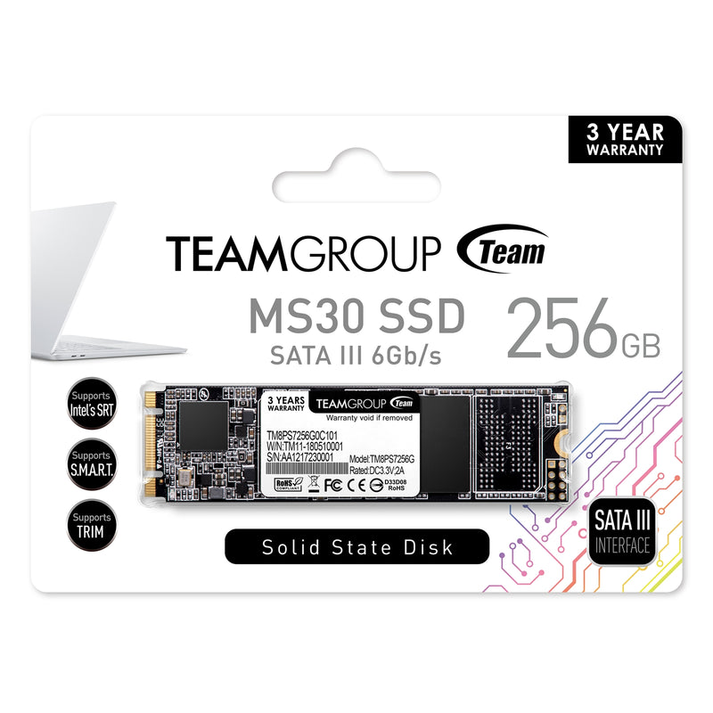 Team MS30 256GB M.2 2280 SATA III Solid State Drive (SSD) Box - Peach Stores