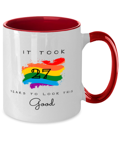 27th Birthday Gift Two Tone Red and White Coffee Mug, it took 27 years to look this good - Happy Birthday Best Gift for 27 years old -LGBT