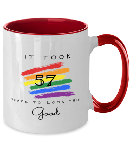 57th Birthday Gift Two Tone Red and White Coffee Mug, it took 57 years to look this good - Happy Birthday Best Gift for 57 years old -LGBT