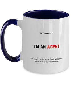 I'm an Agent Two Tone Navy and White Coffee Mug