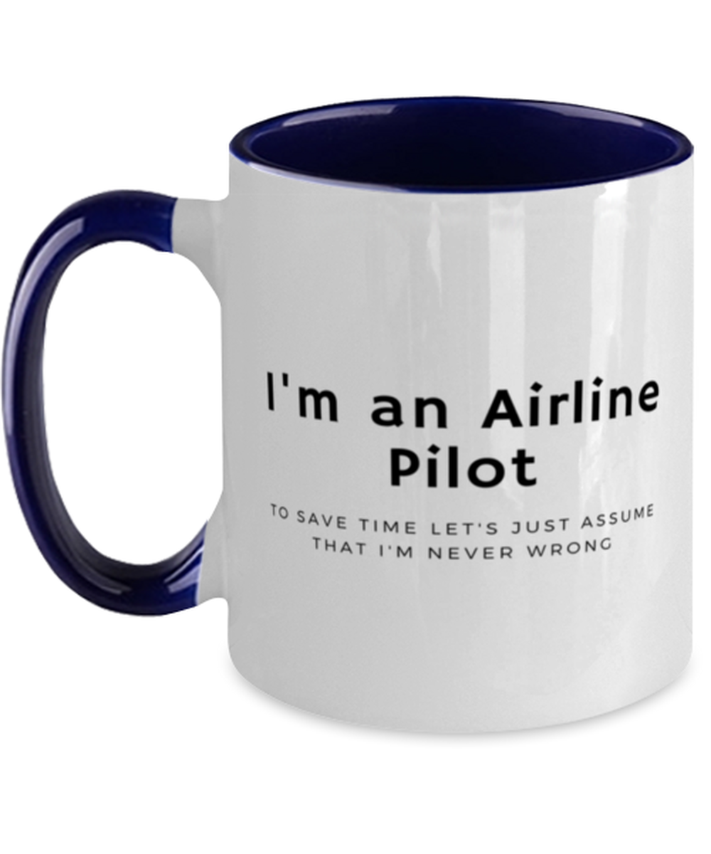 I'm an Airline Pilot Two Tone Navy and White Coffee Mug