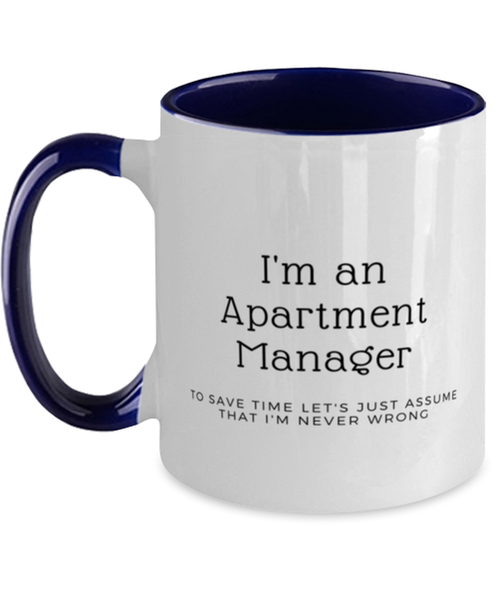 I'm an Apartment Manager Two Tone Navy and White Coffee Mug