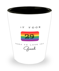 29th Birthday Gift Shot Glass, it took 29 years to look this good - Happy Birthday Best Gift for 29 years old - LGBT