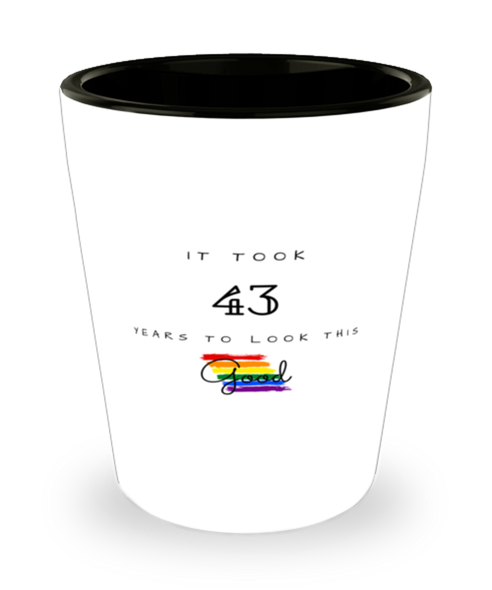 43rd Birthday Gift Shot Glass, it took 43 years to look this good - Happy Birthday Best Gift for 43 years old - LGBT