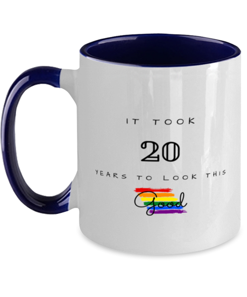 20th Birthday Gift Two Tone Navy and White Coffee Mug, it took 20 years to look this good - Happy Birthday Best Gift for 20 years old -LGBT